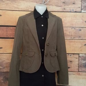 Jackpot green Olive corduroy fitted cropped blazer